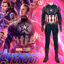 MANLUYUNXIAO Avengers 4 Endgame Costume Captain America Steven Roger Cosplay Jumpsuit Boots Superhero Halloween Outfit
