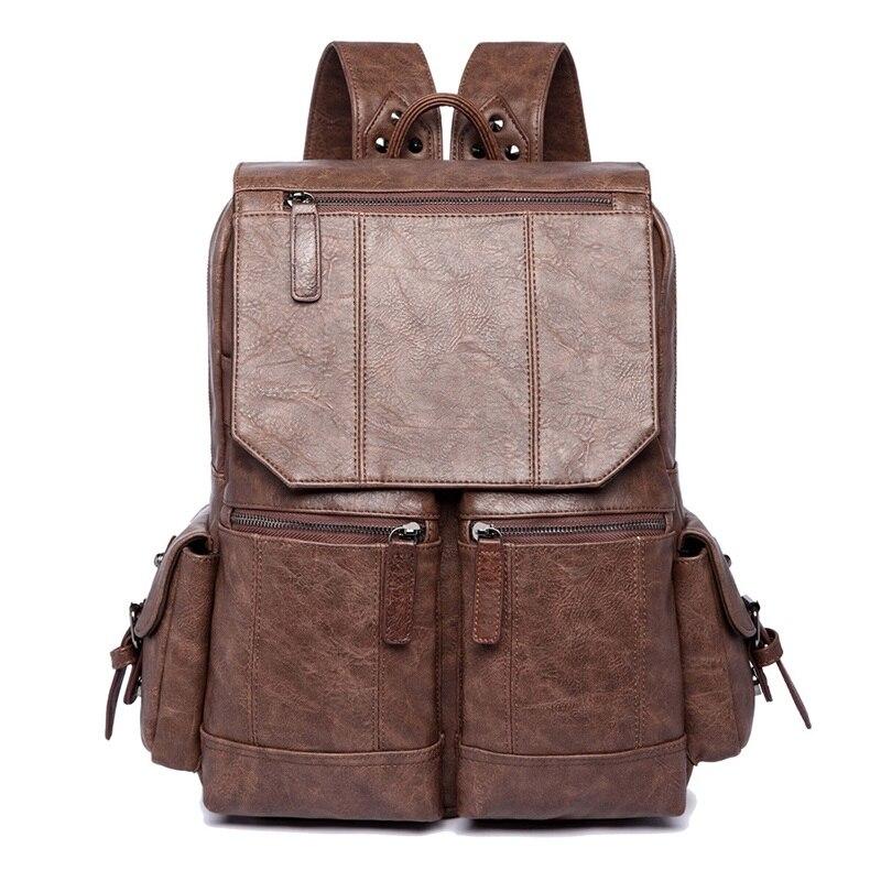 WILIAMGANU décontracté hommes sac à dos en cuir PU cartable de haute qualité sac de voyage Designer sac à dos homme ordinateur portable sac d'école pour adolescent - 2