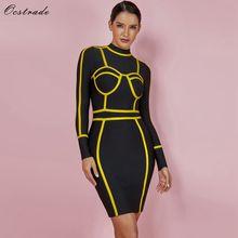 Ocstrade Women Bandage Dress 2019 New Sexy Yellow Symmetrical Outline Detail Black Turtleneck Long Sleeve Bodycon Party