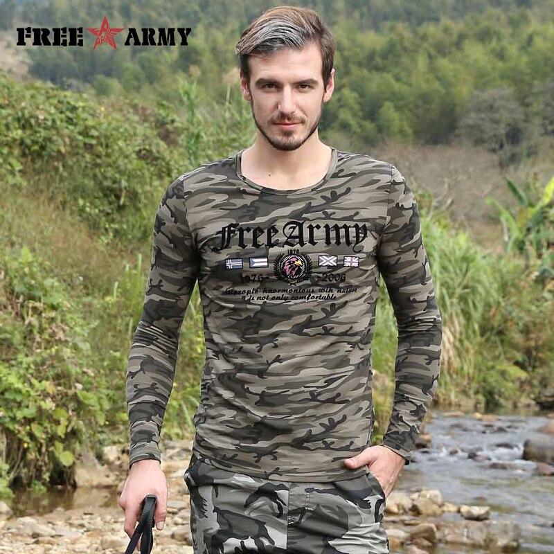 Marque hommes T shirt Camouflage armée vert t-shirts mâle Cool à manches longues hauts hommes coton décontracté maillot de bain hommes hauts t-shirts MS-6598