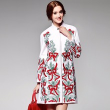 Women wool coat vintage winterbow flower embroidery cashmere coats long-sleeved elegant wool thick outwear casaco feminino XXL