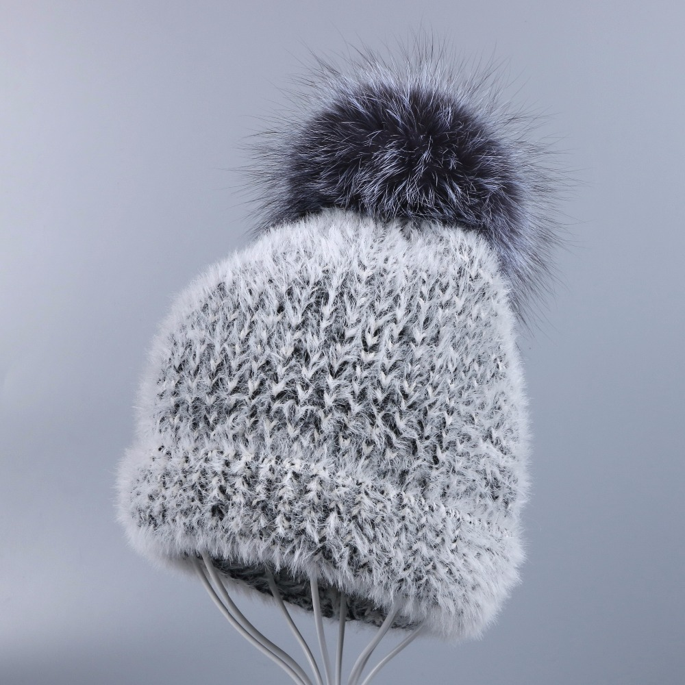OHCOXOC New Women Beanies Real Fox Fur Pom Poms Ball Cap Keep Warm Beanies Skullies Solid Gray Stripe Autumn Winter Hat