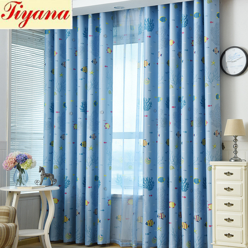 1 Panel Fish Blackout Curtains For Bedroom Living Room Curtain Kidu0027s Room  Curtain Ocean Blinds Sheer Curtain Kid Tulle WP216 *30