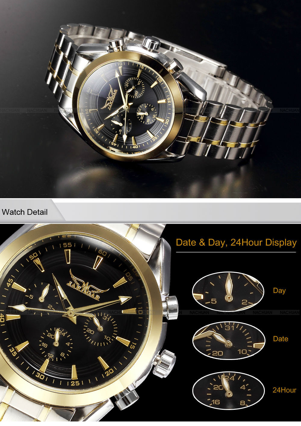 Jaragar Luxury Brand 3 Dials Date Mens Mechanical Watch Stainless Steel Golden Business Clock Man Sports Wrist relogio masculino in Mechanical Watches from Watches