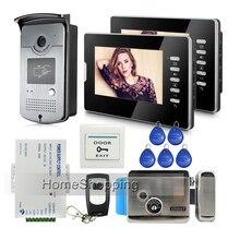 """ENVÍO de la Nueva 7 """"Sistema de Color de Vídeo Teléfono de Puerta de Intercomunicación 2 Monitor + 1 Cámara de Acceso RFID de Bloqueo de Control Eléctrico de la venta Entera"""