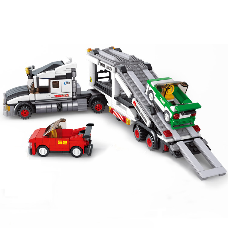 0339 City Street Track Truck Transporter Racing Cars 4 Figures 3D Building Blocks Toys for Children Christmas Gift Legoings 6727 city street police station car truck building blocks bricks educational toys for children gift christmas legoings 511pcs