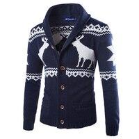 Nowa Moda W Stylu Europejskim Kaszmiru Sweter Mężczyzn Sweter Pojedyncze Piersi Dorywczo Szczupła Swetry Męskie Zimowe Deer Wzór Dzianina