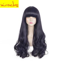 3505 Long Wig Synthetic Black Ombre Wavy Wig With Bangs For Black White Women Prom Temperament Harajuku Wig Xi.Rocks black and white ombre long wavy side bang synthetic fashion lolita harajuku cosplay wig for party
