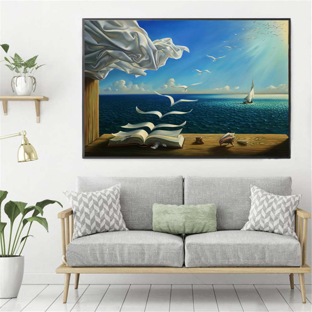 Surreal City Chess Beach Set Wall Art Canvas Painting Poster Prints Pictures For Living Room Decoration Home Oil Paintings Decor 1