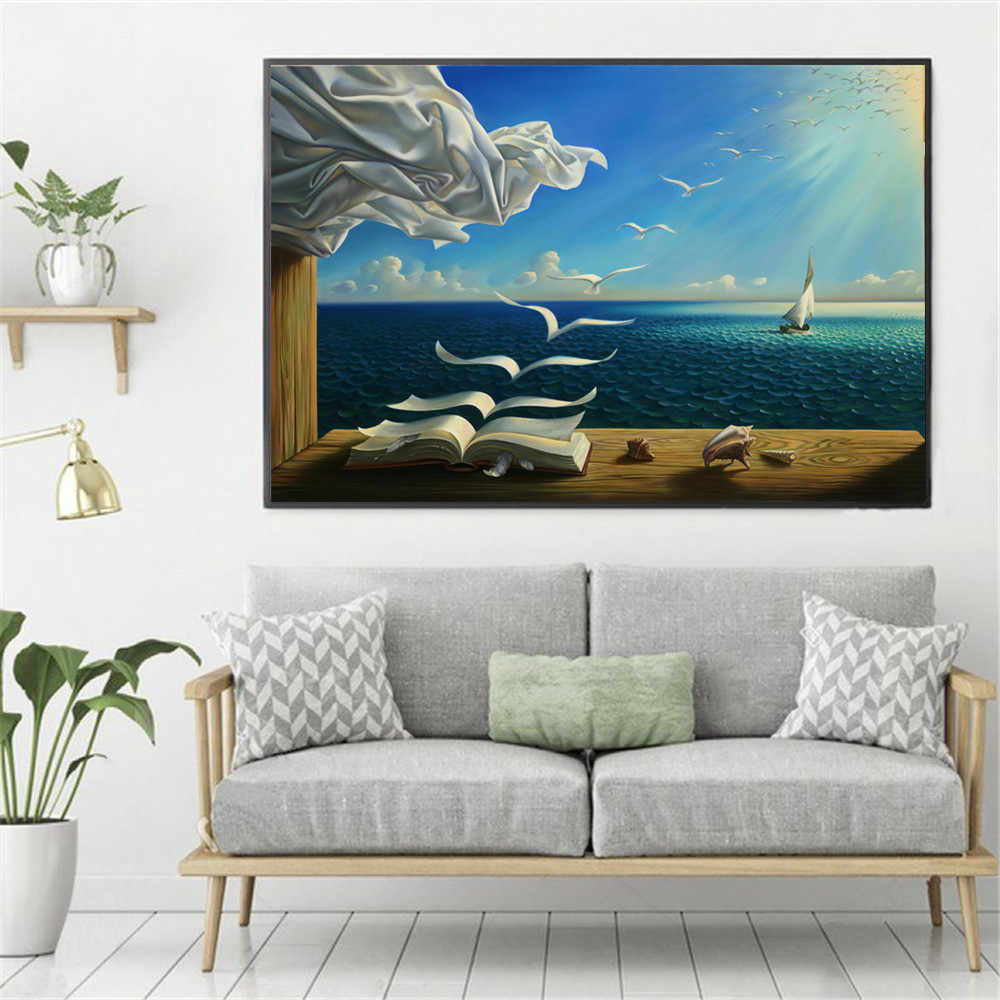 Surreal City Chess Beach Set Wall Art Canvas Painting Poster Prints Pictures For Living Room Decoration Home Oil Paintings Decor