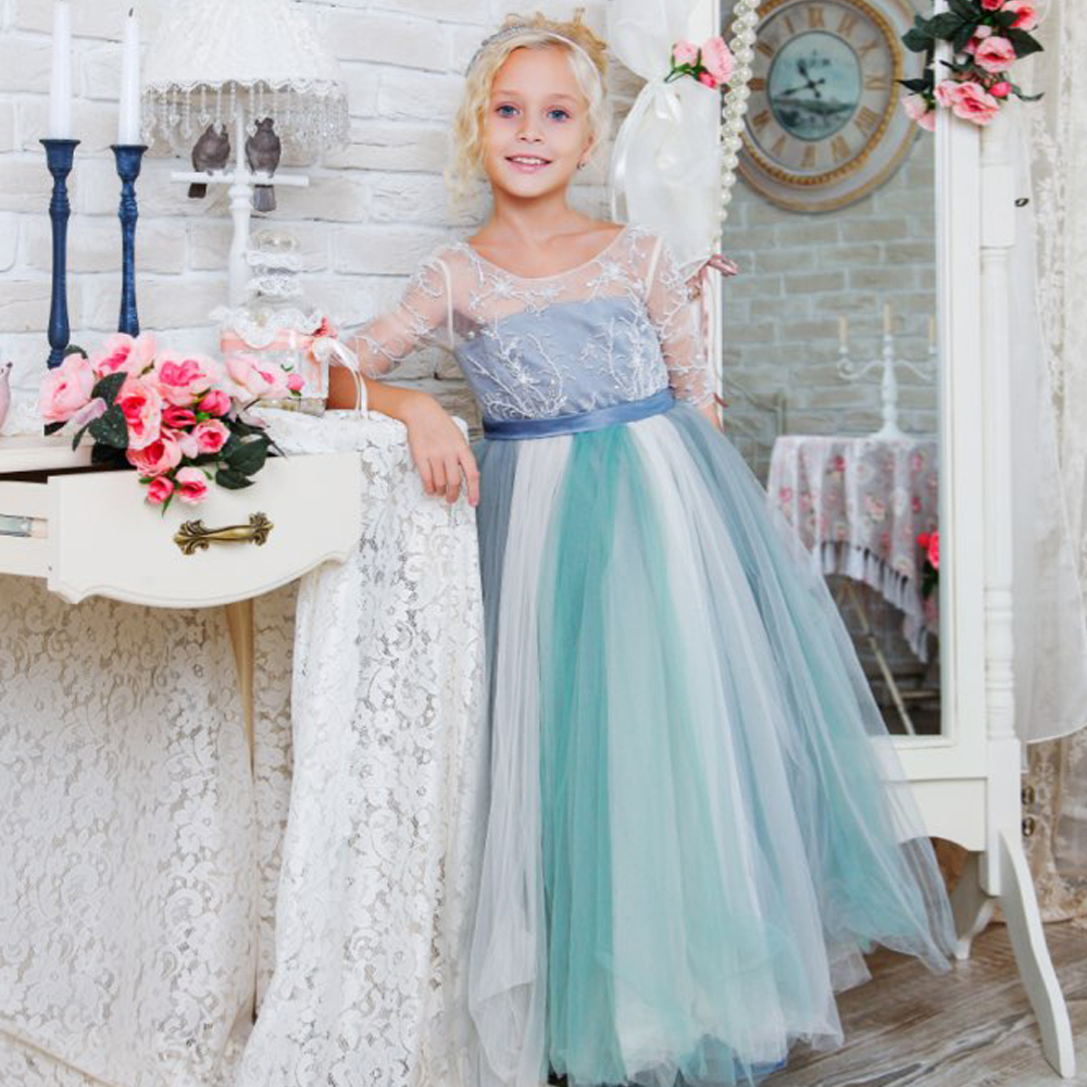 Fancy Half Sleeves A-line Beaded Flower Girl Dress Lace Up Hollow Back Tulle  Ruffles Kids First Communion Dresses 0-12 Year Old fancy bateau neck half sleeves lace sashes a line knee length prom dress designed
