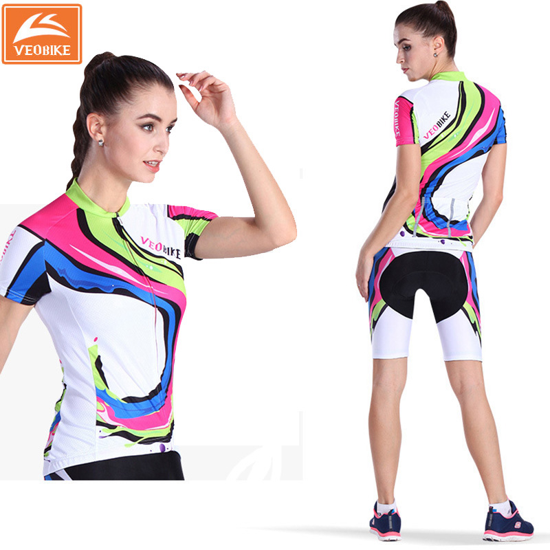 VEOBIKE Ice Fabric Women Cycling Jersey Short-sleeve Breathable Shorts Bike Clothing Outdoor MTB Cycling Jersey Set 4D GEL