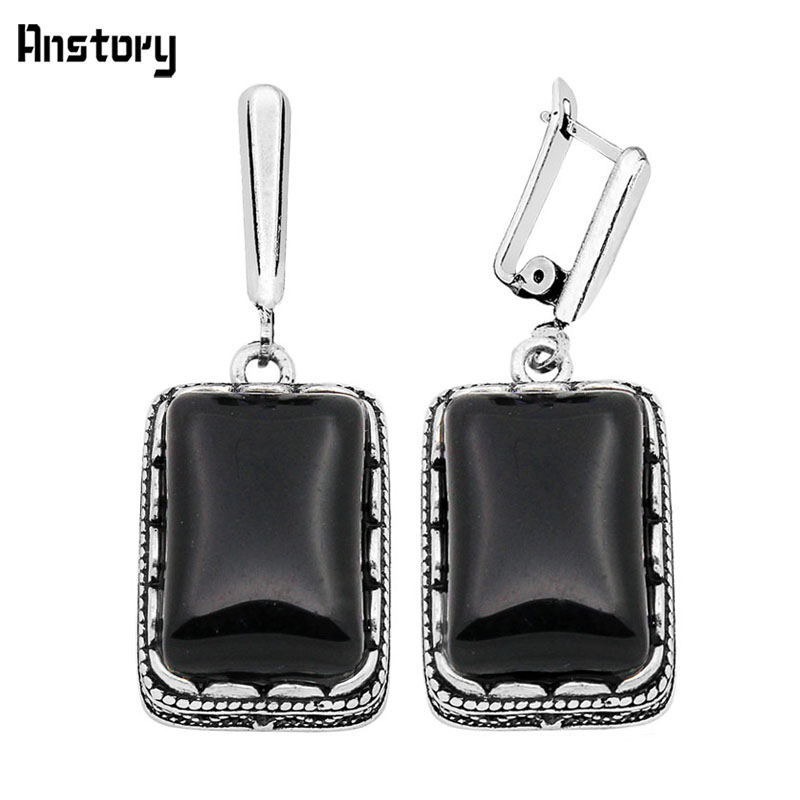 Oblong Black Stone Flower Pendant Earrings Vintage Look Antique Silver Plated Double Layer Fashion Jewelry TE137