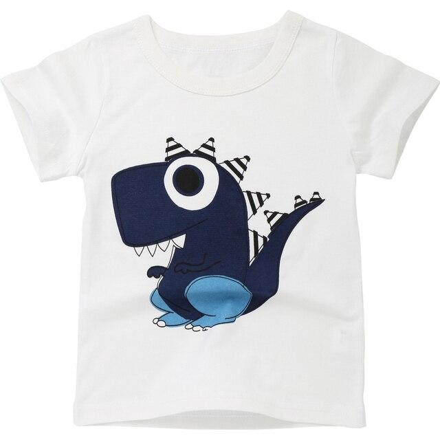 Boy T Shirt Cartoon Dinosaur Print T-shirt Summer 2018 Baby Girls Shirts O-neck Cotton Children Tshirt Short Sleeve Kids Clothes
