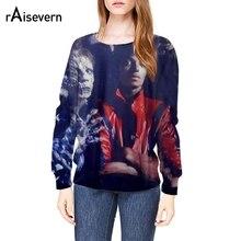 Raisevern Мода 2017 г. 3D пуловер Толстовка Майкл Джексон/Триллер/зомби кофты с длинным рукавом забавные 3D Толстовки оптовая продажа