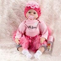 Кукла реборн девочка игрушки подарок полный силикон + ткань тела куклы младенцы Reborn 22 55 см Bebe девочка возрождается bonecas детские игрушки кукл