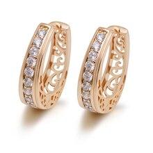 MxGxFam Овальный полый стиль серьги-кольца для женщин модные украшения золотой цвет AAA+ циркон хорошее качество