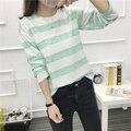 2017 primavera y otoño nueva Harajuku viento estudiantes casual simple raya señora suelta de manga larga Camiseta femenina
