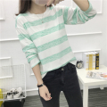 2017 spring and autumn new Harajuku wind students casual simple stripe loose lady long-sleeved T-shirt female