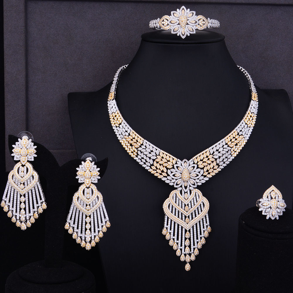 GODKI Luxury Tassels Drop Women Wedding Cubic Zirconia Choker Necklace Earring Saudi Arabia Jewelry Set Jewellery