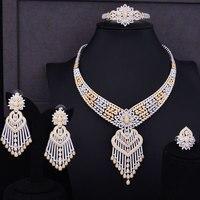 GODKI Luxury Tassels Drop Women Wedding Cubic Zirconia Choker Necklace Earring Saudi Arabia Jewelry Set Jewellery Addiction