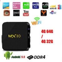 20 штук MX10 ТВ коробка Android 9,0 Rockchip RK3328 Quad-core 4 Гб Оперативная память 32G/64G Встроенная память Suppot H.265 4 K 2,4G Wi-Fi телеприставки