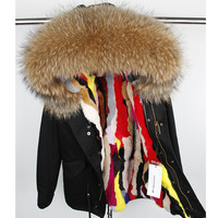 winter jacket2017 Fashion woman army green Large raccoon fur collar hooded coat parkas outwear detachable rabbit fur lining