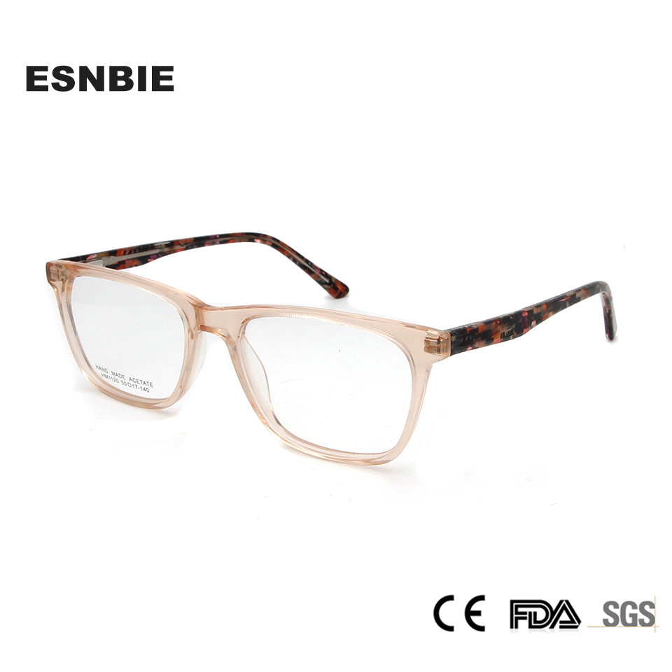 ESNBIE Acetate Ladies Square Eyeglasses Women Optical Glasses Frame Full Rim Eyeglass Coloured Frames Pink Orange