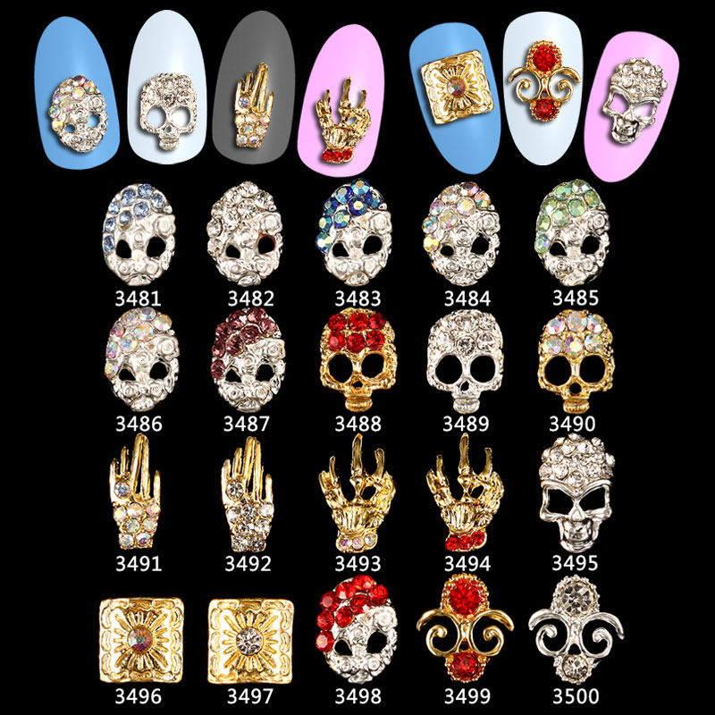 100pcs hallowmas Skull Claw Alloy Charms Alloy Nail Charms Nails Rhinestones Nail Supplies 3481 3500 in Rhinestones Decorations from Beauty Health