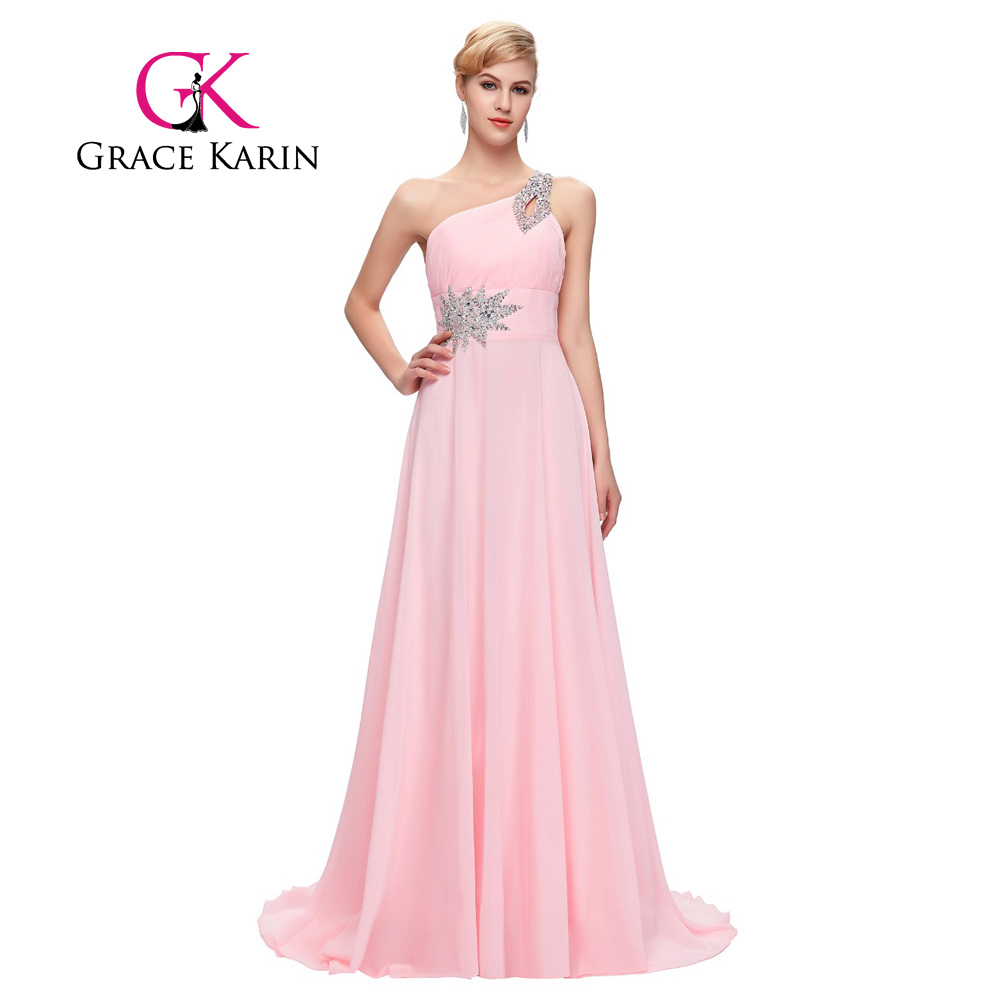 Grace karin evening dresses long one shoulder floor length chiffon grace karin evening dresses long one shoulder floor length chiffon bridesmaid prom dress gowns robe de soiree longue 2017 in bridesmaid dresses from ombrellifo Image collections