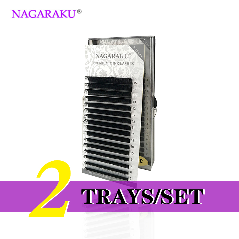 NAGARAKU 2Trays set J B C D Curl Length 7 15mm Mixed In One Tray Eyelash