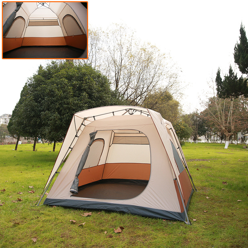 Automatic tents 5-6 people breathable square kakhi color outdoor waterproof family camping tent easy install 1 second speed open otomatik çadır