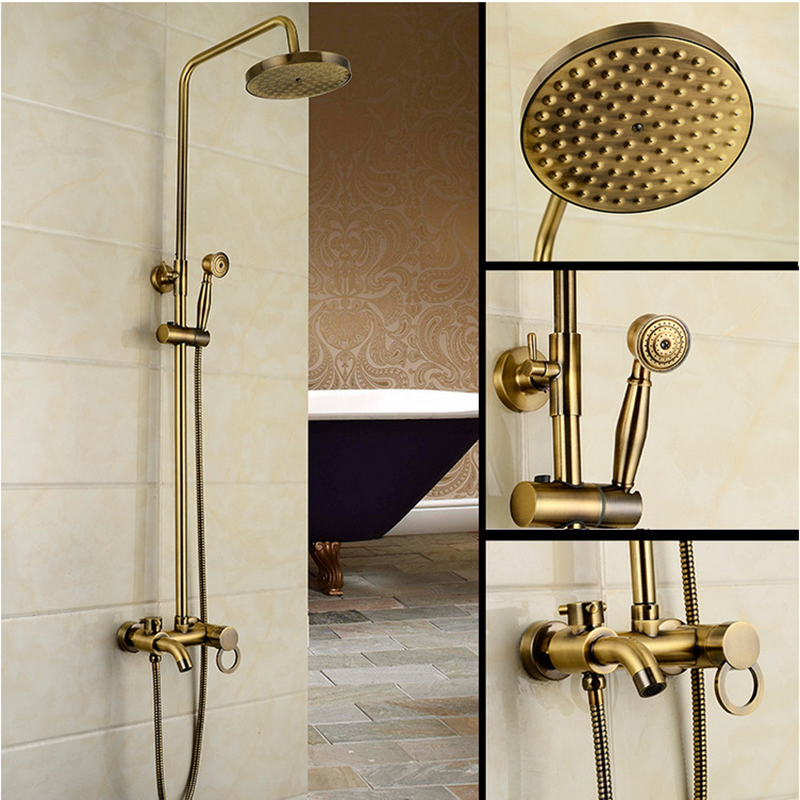 Bath Antique Brass Shower Set 8