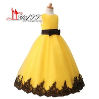 2016 Lovely Ball Gown Flower Girl Dresses Yellow Sweet Child Girls Pageant Dresses Appliques First Communion