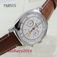 44mm parnis white dial crystal Chronograph 2017 luxury brand watch military watches mens in quartz movement Mechanical watches
