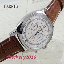 44mm parnis white dial Chronograph quartz mens Watch 1 все цены
