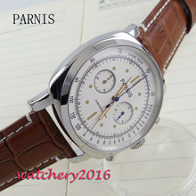 44mm parnis white dial sapphire Chronograph 2017 luxury brand watch military watches mens in quartz movement Mechanical watches