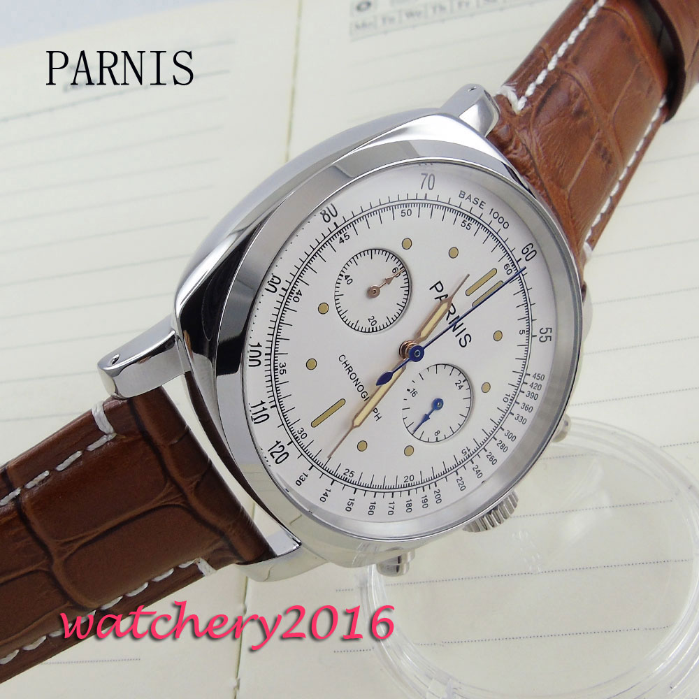44mm parnis white dial sapphire Chronograph 2017 luxury brand watch military watches mens in quartz movement Mechanical watches seiko watch premier series sapphire chronograph quartz men s watch snde23p1