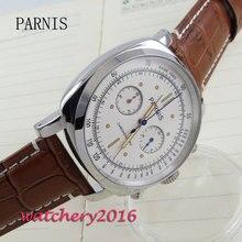 44mm parnis weiß zifferblatt sapphire Chronograph 2017 luxus markenuhr militäruhren herren in quarzwerk Mechanische uhren