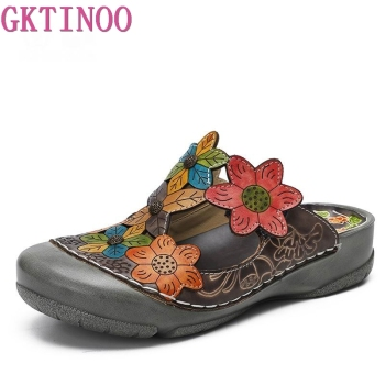 GKTINOO Flower Slippers Genuine Leather Shoes Handmade Slides Flip Flop On The Platform Clogs For Women Woman Slippers Plus Size leather