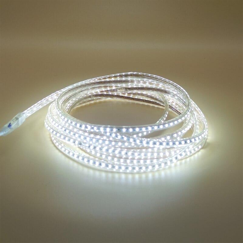 Tira de luces LED Flexible 1m 5m 10m 20M 220V SMD 3014 120led/M blanco cálido IP67 tira impermeable tira de cuerda lámpara de barra + enchufe de alimentación de la UE Tira LED SMD 2835 · Tiras LED flexible impermeable IP67 Chip LED 2835 con transformador