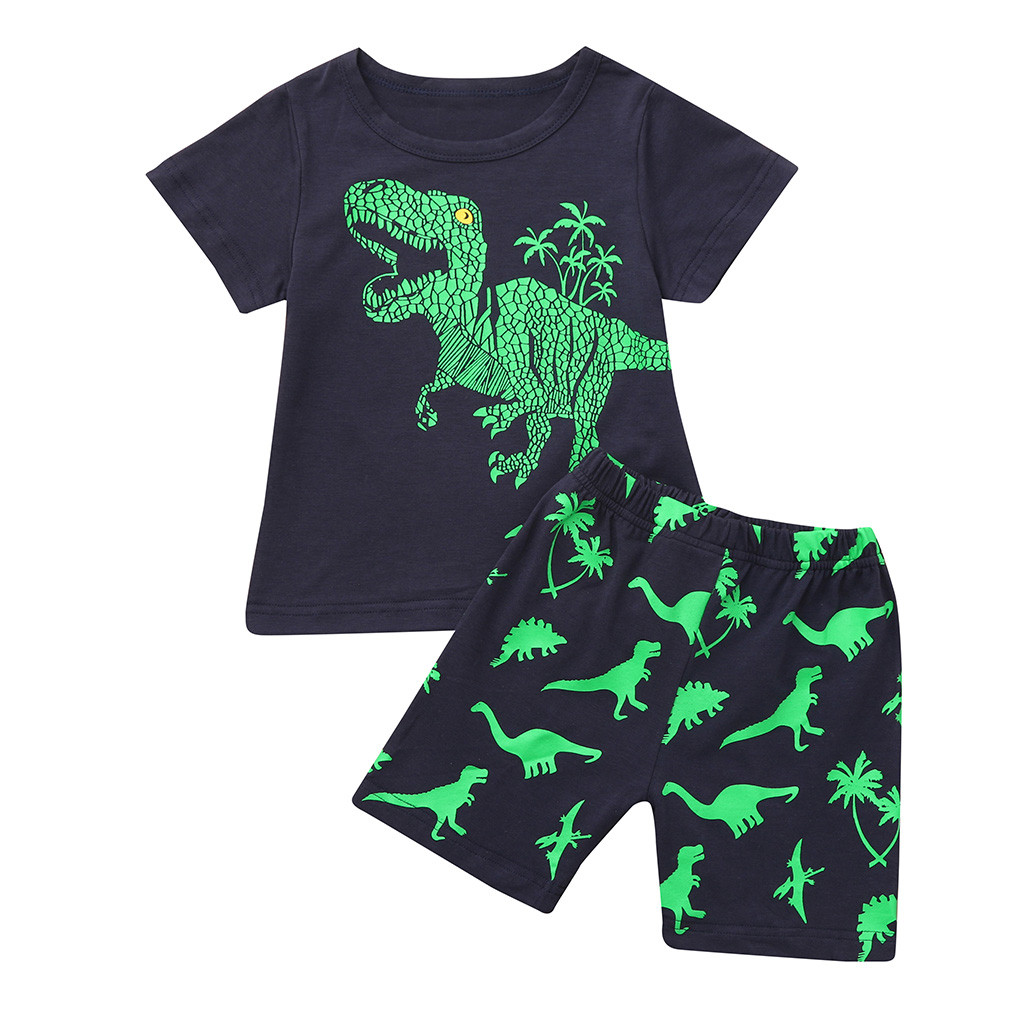 Summer New Kids Cotton Cute Clothing Sets Toddler Baby Kids Boys Dinosaur Print Tops+Pants Pajamas Sleepwear Outfits Set HOOLER