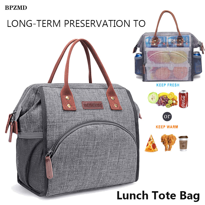 BPZMD Hot New Large Portable Insulated Canvas Lunch Bag Food Picnic Thermal Bags Women Kids Men Cooler Lunch Box Bag Tote