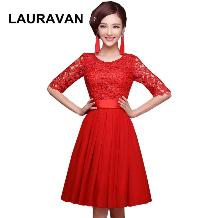 Short Vintage Red Lace Half Sleeves Illusion Neckline Bridesmaid Bride Maides Dresses A Line Chiffon Elegant Dress