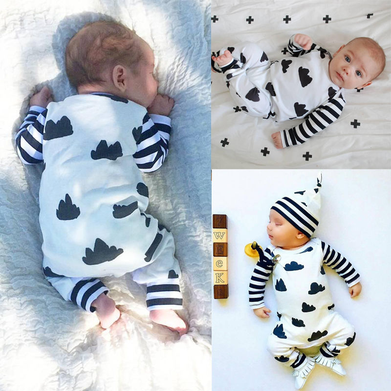 016 Spring Autumn toddler Newborn Baby Clothes Cotton Boy Girl Infant Clouds Romper Long Sleeve Jumpsuit Climbing Clothes 3pcs set newborn infant baby boy girl clothes 2017 summer short sleeve leopard floral romper bodysuit headband shoes outfits