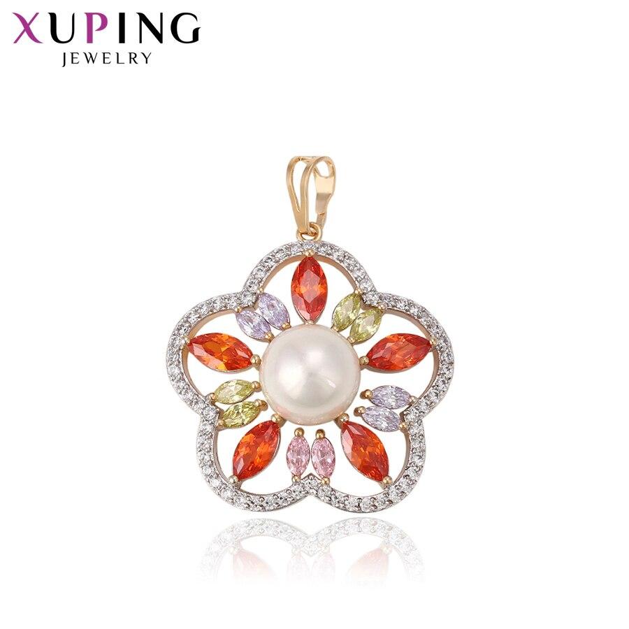 11.11 Xuping fleur forme pendentif collier de luxe Imitation perle bijoux coloré romantique cadeau dames S163.3--33046