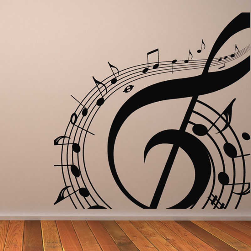 m 003 free shipping diy musical notation home decor music wall sticker removable vinyl decal - Music Wall Decor