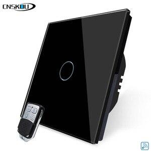 Cnskou EU Stanard 1 Gang 110V/220V Remote Control Touch Switches Black White Crystal Glass Panel Smart Home