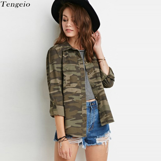 2017 Fashion Camouflage Blouses Women Tops Turn Down Collar Pockets Long Sleeve Button Dwon Casual Shirts Blusas Army Green 110