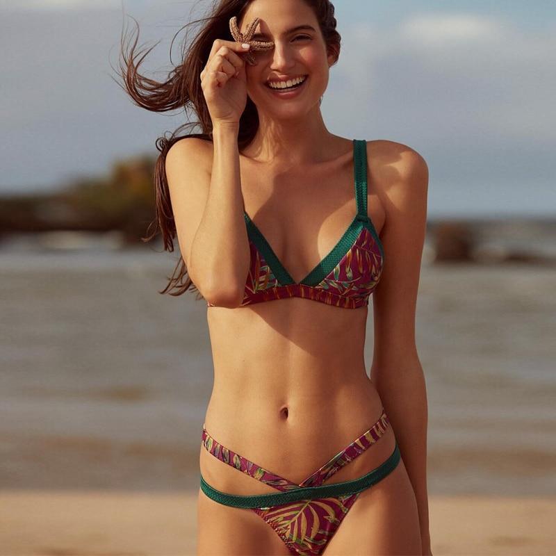 2778fd05e2f7c ladies red swim wear 2018 brasil biquinis sexy sling bikini mini micro  thong swimming suits for womens tropical print beach wear